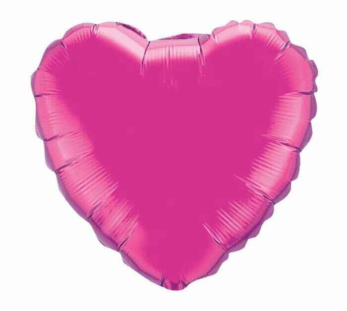 METALLIC HEART SOLID BALLOON MAGENTA