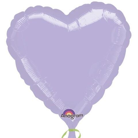 METALLIC HEART SOLID BALLOON LILAC