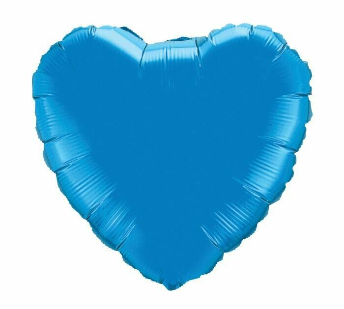 METALLIC HEART SOLID BALLOON SAPPHIRE BLUE