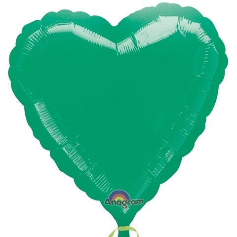 METALLIC HEART SOLID BALLOON GREEN