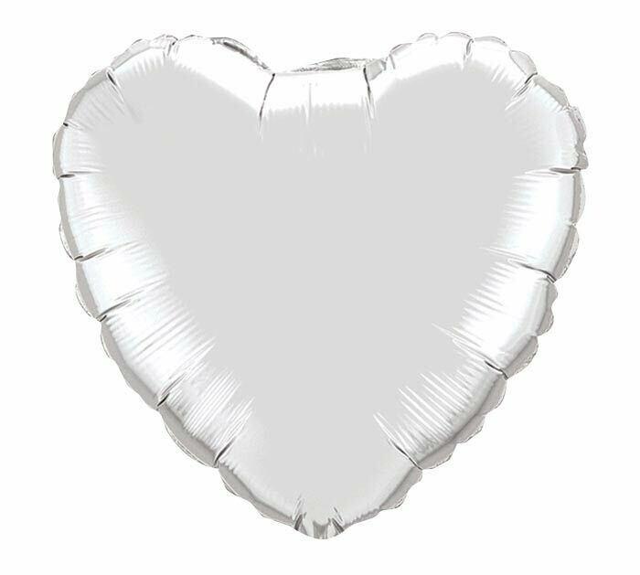 METALLIC HEART SOLID BALLOON SILVER