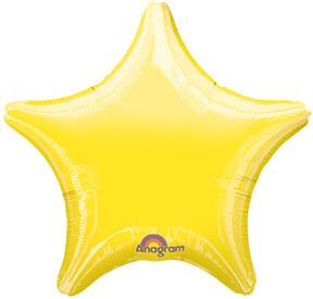 METALLIC SOLID STAR BALLOON YELLOW