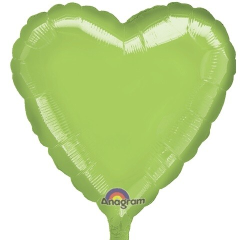METALLIC HEART SOLID BALLOON LIME