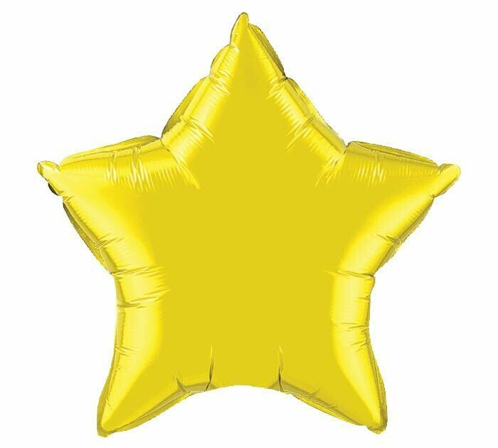 METALLIC SOLID STAR BALLOON CITRINE YELLOW