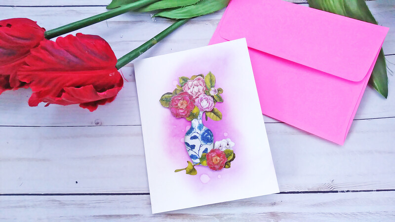 Handmade Greeting Card, Set of 3 Watercolor Plain Note Card Set (ONLY 1 QUANTITY AVAILABLE)