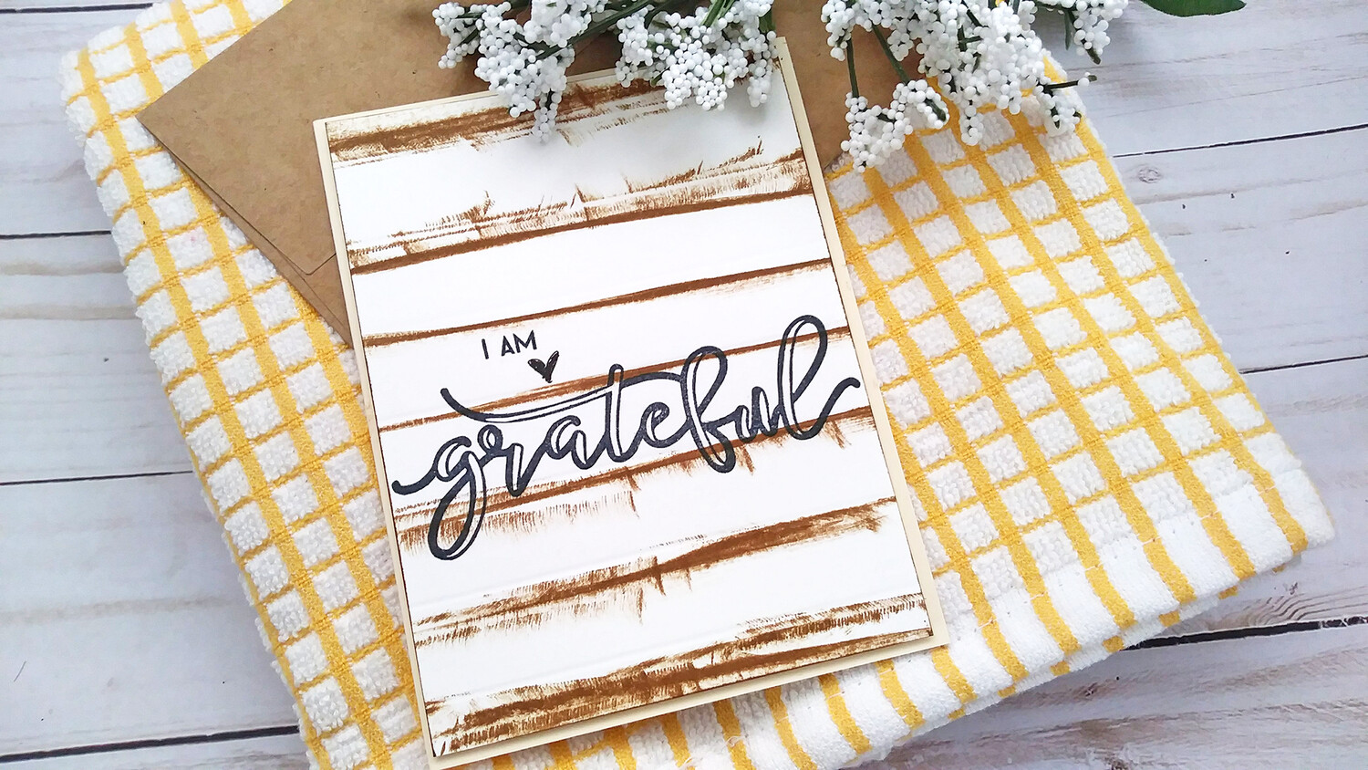 Handmade Greeting Card, Set of 3 Grateful, Thankful, Blessed