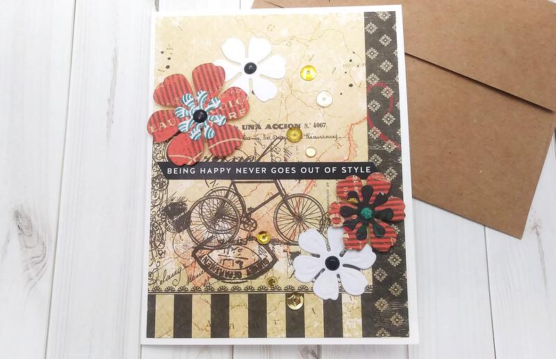 Handmade Greeting Card, Set of 7 Vintage