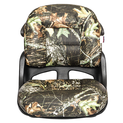 Fisherman's Armless Low-Back Helm Seat - Mossy Oak Break Up - VINYL