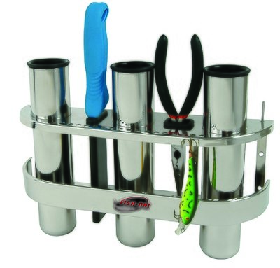 Stainless Triple Rod Holder - Stainless