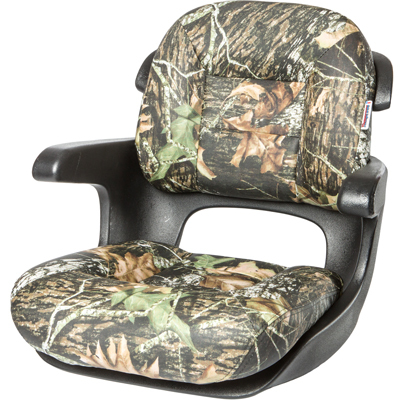 Elite Helm Low-Back Boat Seat - Mossy Oak Break Up Vinyl Cushion