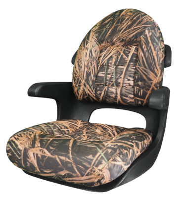 Elite Helm High-Back Boat Seat - Mossy Oak Shadow Grass - VINYL