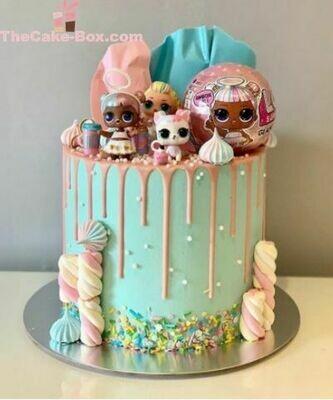 Turquoise LOL Girls Cake