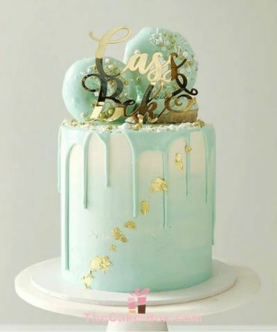 Turquoise Dripping Cake Macron on Top