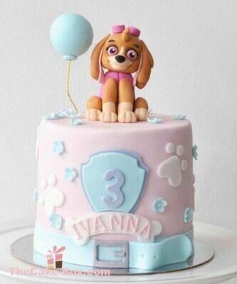 Cut Puppy Themed Girls Cake