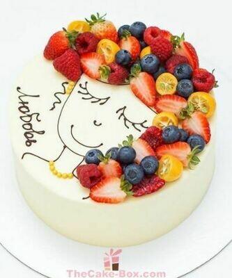 Fruity Girl Face Themed Cake