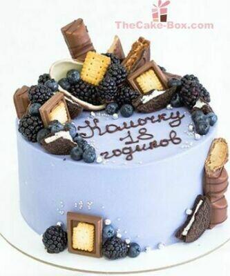 Blueberry Chocolate Madness Theme Cake