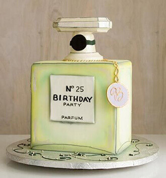 Chanel No 5 Themed Birthday Cake