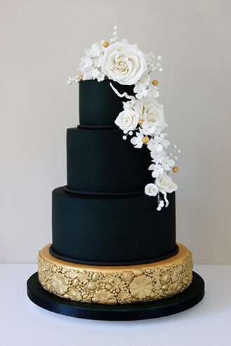 Luscious Black and Gold Stack Wedding Cake