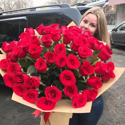 Букет 51 роза Премиум в Крафте💫