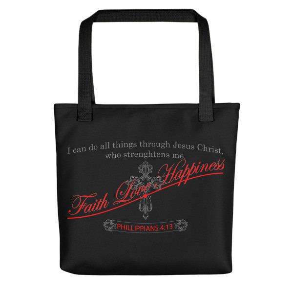 Beautiful black I Can Do All Things Through Jesus Tote bag