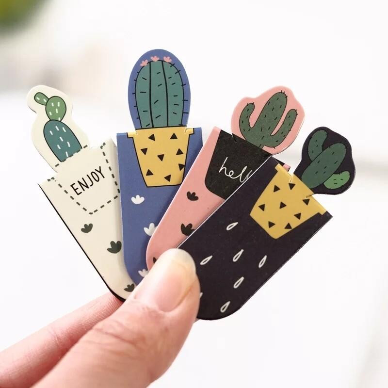 3pcs/Set Cute Cactus Sakura Magnetic Bookmarks