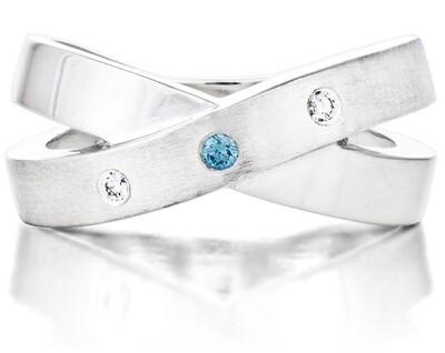 French Kiss—Silver/1 Blue Diamond