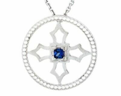 Fontana Pendant—Silver/Sapphire