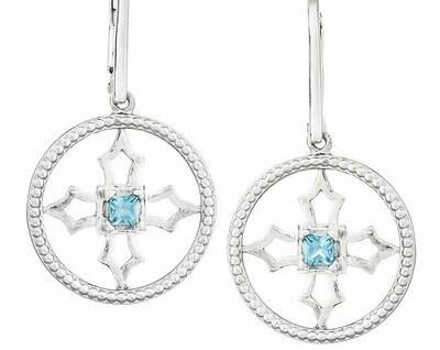 Fontana Earrings—Silver/Blue Topaz