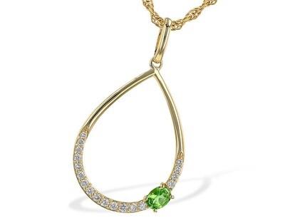 Green Garnet & Diamond Pendant