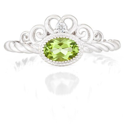 Galway Ring—White Gold with Peridot
