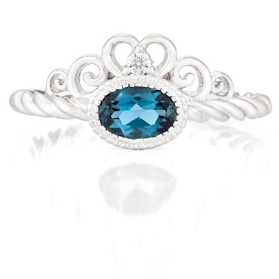 Galway Ring—White Gold with London Blue Topaz