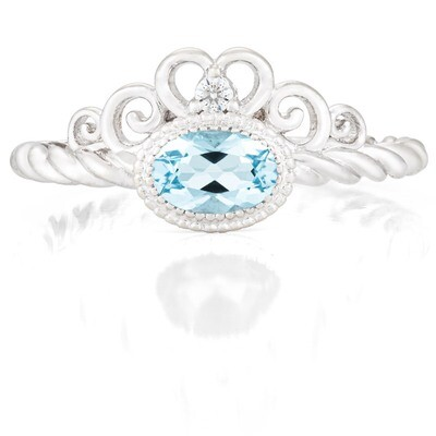 Galway Ring—White Gold with Sky Blue Topaz