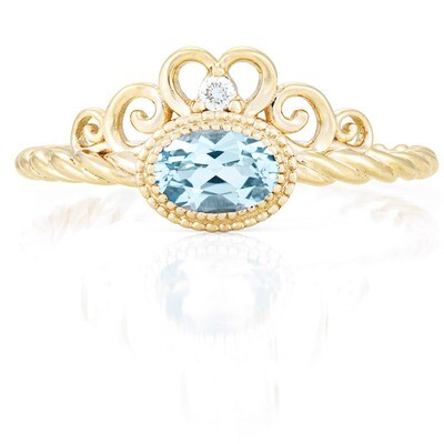 Galway Ring—Yellow Gold with Sky Blue Topaz