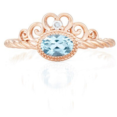 CC Galway© Ring—Rose Gold with Sky Blue Topaz