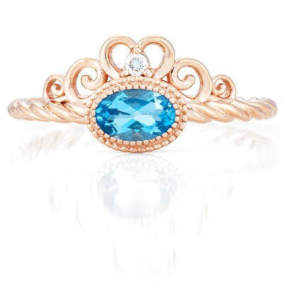 Galway Ring—Rose Gold with Swiss Blue Topaz