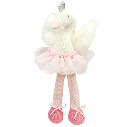 """Elegant Baby knit toy, 15"""" pink and white swan"""