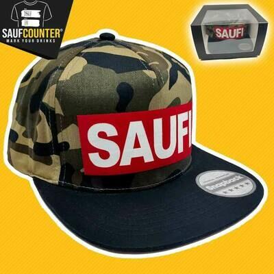 SAUFI Snapback inkl. Aufbewahrungsbox mit Sichtfenster (Camouflage/Rot/Weiß)
