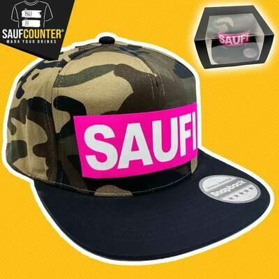 SAUFI Snapback inkl. Aufbewahrungsbox mit Sichtfenster (Camouflage/Pink/Weiß)
