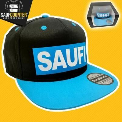 SAUFI Snapback inkl. Aufbewahrungsbox mit Sichtfenster (Schwarz/Blau/Weiß)