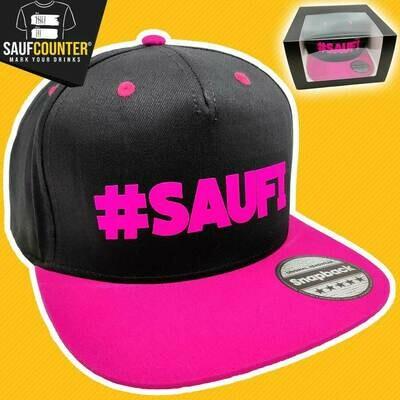 #SAUFI Snapback inkl. Aufbewahrungsbox mit Sichtfenster (Schwarz/Pink)