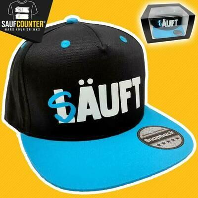 SÄUFT Snapback inkl. Aufbewahrungsbox mit Sichtfenster (Schwarz/Blau)