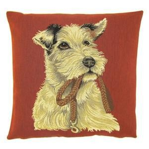Belgian tapestry - WHITE TERRIER WITH LEAD