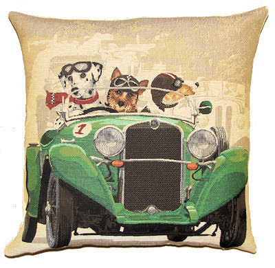 Belgian tapestry - DOGS IN GREEN CAR