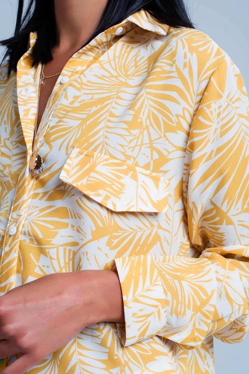 White Blouse w/Mustard Palm Print