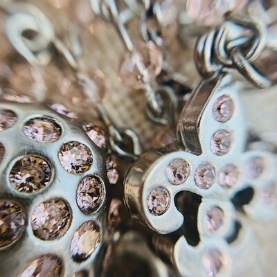 Swarovski Crystal heart flour de lis necklace