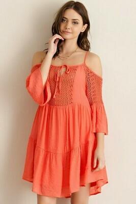Crochet Front Open Sleeve Dress
