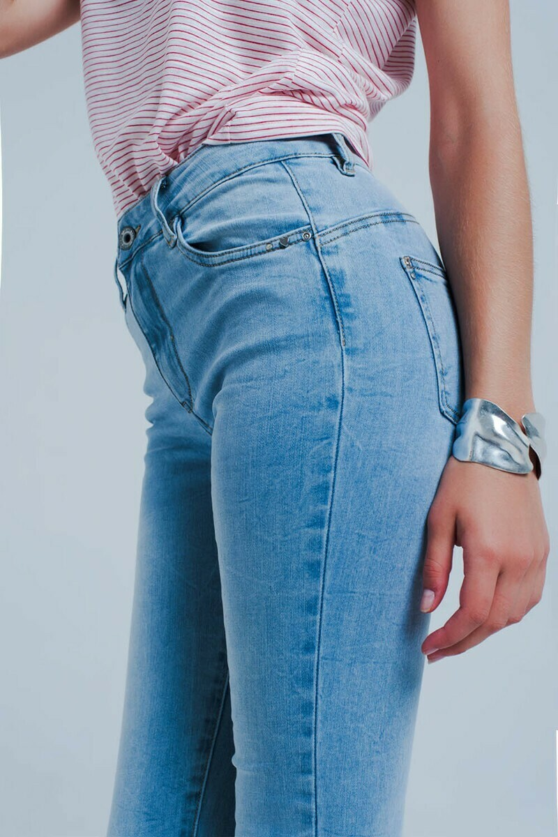 High Waisted Stone Washed Skinny Jeans