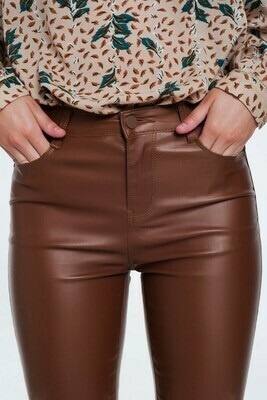 Coated Skinny Chocolate Pant