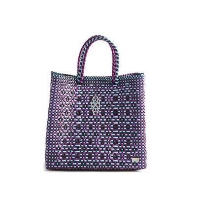 Oaxaca Tote Bag Blue/ Black/ Fushia-Purple
