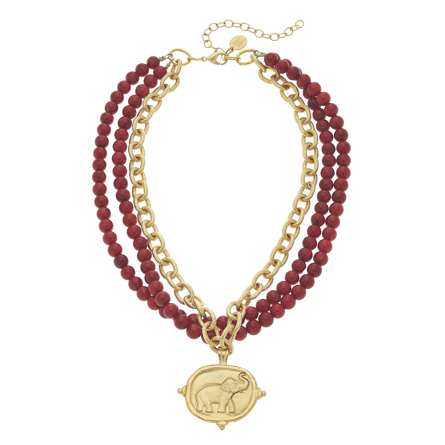 Red Coral & Elephant Necklace
